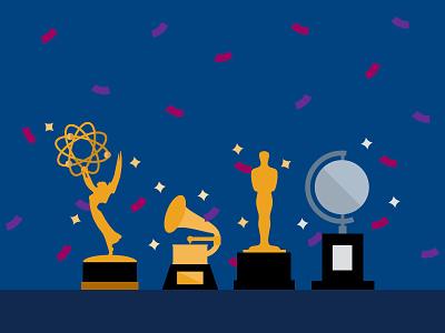 EGOT trophies the tonys the oscars the grammys the emmys award season egot illustration graphic design