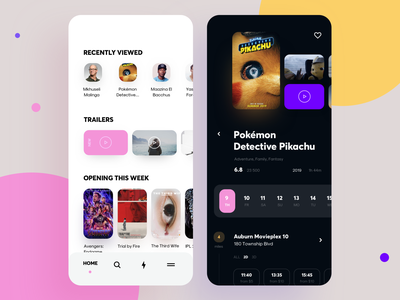 Service app for watching TV episodes and movies watch uiux mobile ui tv show trailer top movies mobile interface category icons graphics film episode app design cuberto category app