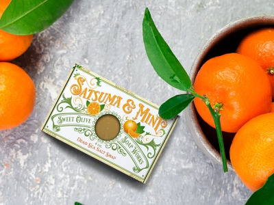 Sweet Olive Soap Works Satsuma & Mint Soap Product Line Campaign midnight boheme graphic design packaging design merchandising dieline logo design branding