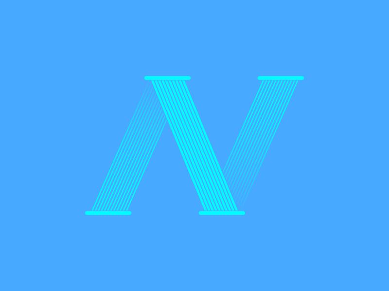 """Typehue """"N"""" challenge weekly illustration letter type debut color blue illustrator n typehue"""