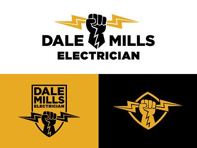 Dale Mills Electric Logo  mark bolt electric electrician illustration design system brand identity debut logo
