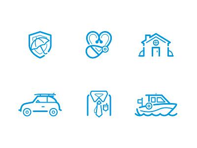 Insurance Icon Set ui boat auto heart illustration web insurance icon