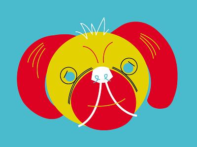 Pug pug dog cartoon illustration vector bright flat comic