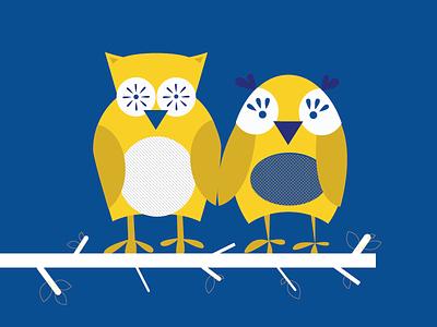 What a hoot. owls cartoons wedding invites comic vector design yellow illustration blue