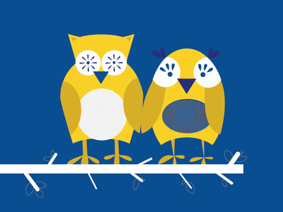 What a hoot. owls cartoons wedding invites comic vector design yellow illustration blue