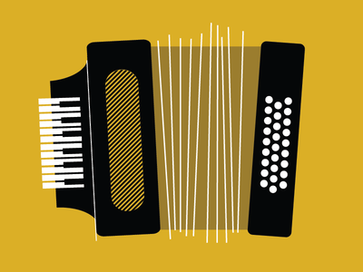 Accordion  accordion music instrument mustard musical keyboard lines vector yellow design flat illustration