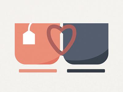 Love Mugs wedding tea mugs mug teapot cup heart invite illustration design art