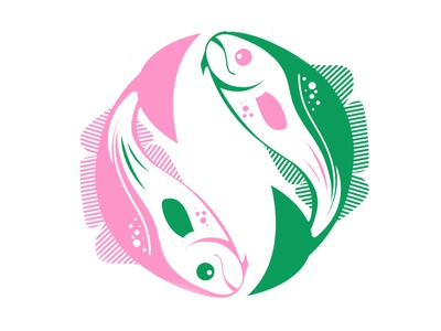Cod Ying-Yang Ultimate Frisbee Disc cod fish ultimate frisbee ying yang illustration design vector