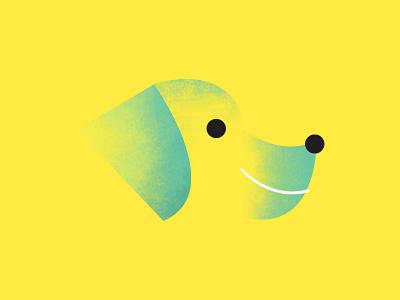 Rough Ruff grunge dog brush illustration head yellow green texture