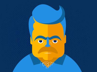 Ron Swan-song ron swanson nick offerman parks recreation rec nbc sitcom illustration tv cartoon