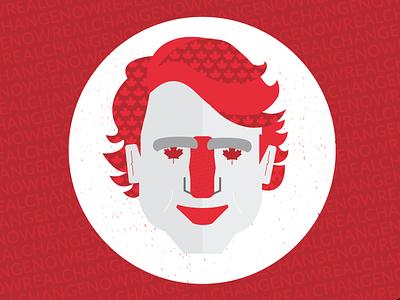 Justin Trudeau portrait illustration flat cartoon white red leaf canadian face trudeau justintrudeau canada