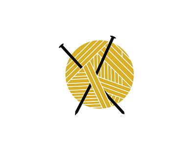 Y is for Yarn flat needle knit knitting illustration vector yellow yarn