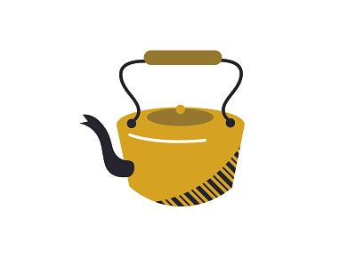 K is for Kettle flat yellow pot tea kettle