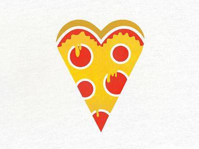 I <3 Pizza icon logo illustration love heart pizza