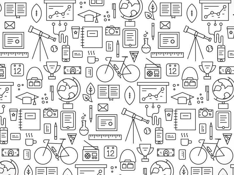College Luncheon Pattern monoweight line art vector illustrator college bw bicycle pattern