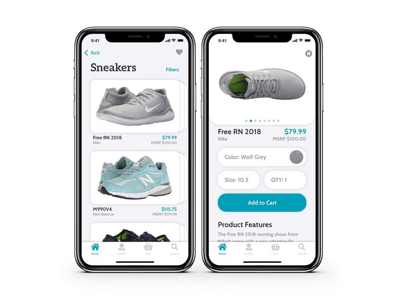 Sneakers App Concept shopping app cart ios app product page sneakers e-commerce shop e-commerce app iphone x ios app design ios design ios minimal typography flat design app ui