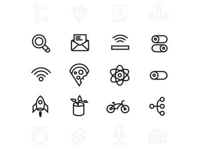 Othercircles set (2.0) icons set free part sample promo bike atom mail on off switch plant rocket wifi pizza