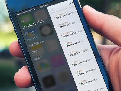 Notes iOS7 (wip) ios7 app design ui iphone camera blurry slider menu icons