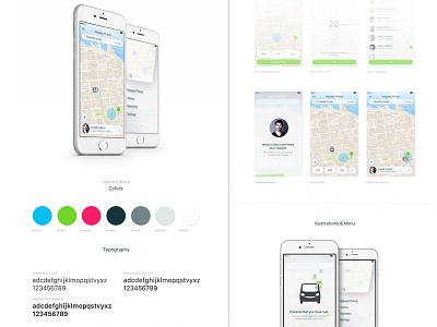Freeride App (Study) styleguide colors animation car driver app ios casestudy