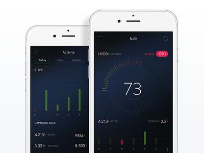 Ezio App dashboard health data running motion tracker activity daily progress watch app ios