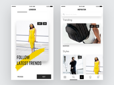 Lookbook App - Tour trending search cards mobile shadows styleguides typography fashion onboarding tour ios