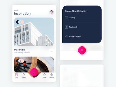 Inspiration Image Feed app feed photo explore search dashboard settings navigation menu newsfeed