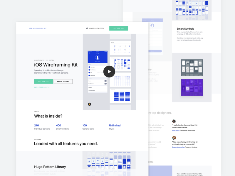 iOS Wireframing Kit - Landing Page free ux icons iphone illustration typography designsystem sketch appdesign ios userflows wireframes landing page