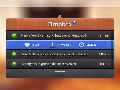 Woodenbox (dropbox) blurry texture light hover buttons ui black poup dropbox redsign design