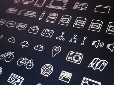 Othericons.com (set) freebie icons design set outlines free ai psd vector bike pen iphone apple documents map