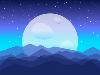 Space stars graphic illustration blue colors gradient galaxy planet space moon