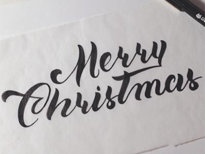 Merry Christmas Script script merrychristmas christmas lettering hand lettering pen ink