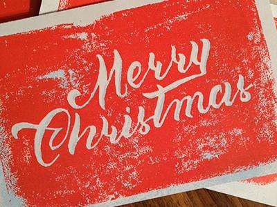 Christmas Card christmas card print holidays lettering handlettering brush pen type typography script linocut