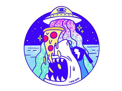 SHARK STICKER aliens alien pizza ufo sticker shark