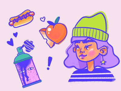 street art gal skateboard food cute pink illustration character design graffiti hotdog peach procreate girls streetart