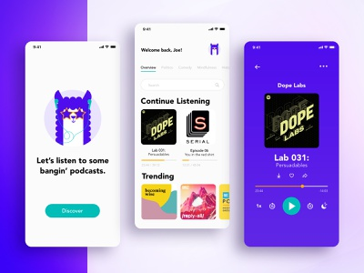 Podcast App alpaca illustration design cute mockup ios podcasts podcast ui mobile app
