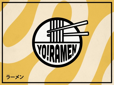 YO!RAMEN LOGO sticks foodie food restaurant yellow japenese typogaphy logotype noodles noodle logo ramen