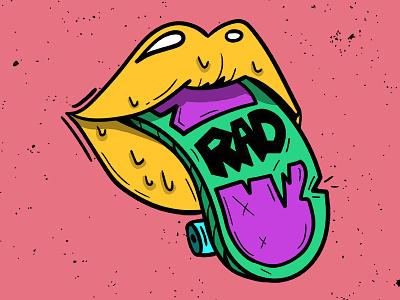 RAD skateboard outline illustration lips rad sk8