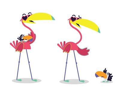 Flamingo & tucan concept birds cute character friends tucan flamingo pink
