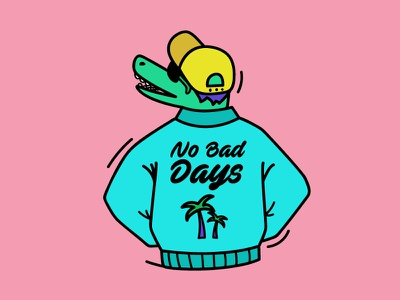 No Bad Days pastel days bad cool outfit cap jacket skate chill crocodille design art