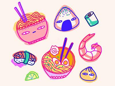 In my mind & In my heart sushi shrimp ramen japan ipadpro ipad art procreate illustration character design food cute pizza pink
