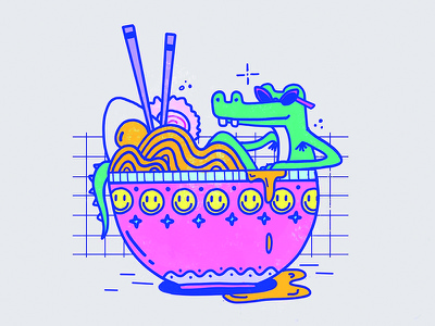 Chillin in Ramen procreate ipad crocodile ramen illustration food design cute