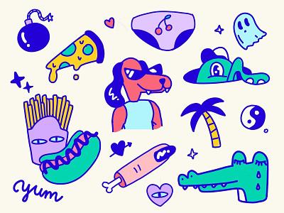 Stuff ipadpro procreate illustration dog character design food pizza