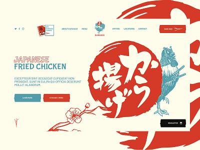 Karaage.com - Japanese Fried Chicken creative graphic design chicken asia japanese restaurant website web branding ui logo graphic design