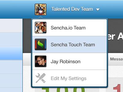 Sencha.io Shot ui menu popover overlay accounts users drop down sencha