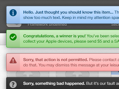 System Notifications alerts notifications ui error messages growl
