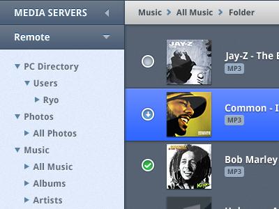 Media Browser ui tree breadcrumbs accordion albums checkbox selected music media blue hip-hop droid sans navigation dark