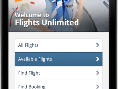 Flight Tracker, Welcome flights ticket airplane airline list selected chevron