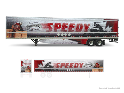 Speedy, Heritage Trailer Wrap transportation retro vehicle graphics large format fleet graphics heritage