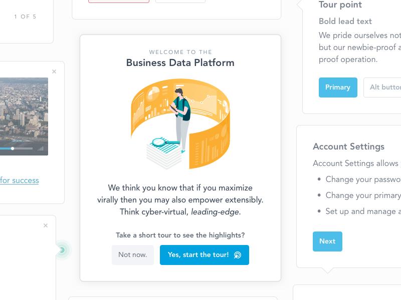 Platform Welcome Tour product design platform walkthrough guide tour