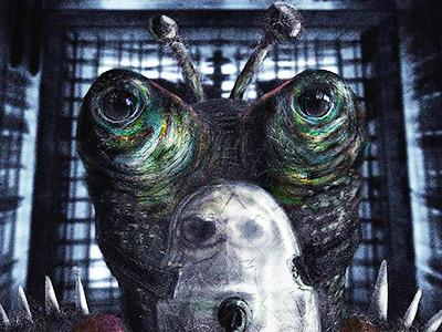Caged Alien sci-fi alien illustration being nostalgic